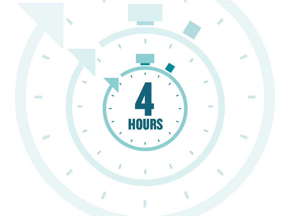 Four hours remaining on a clock icon