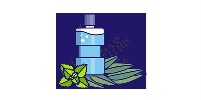 Mouthwash icon with eucalyptol, thymol, menthol