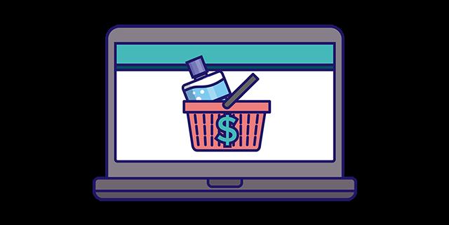 Listerine mouthwash in shopping basket on laptop