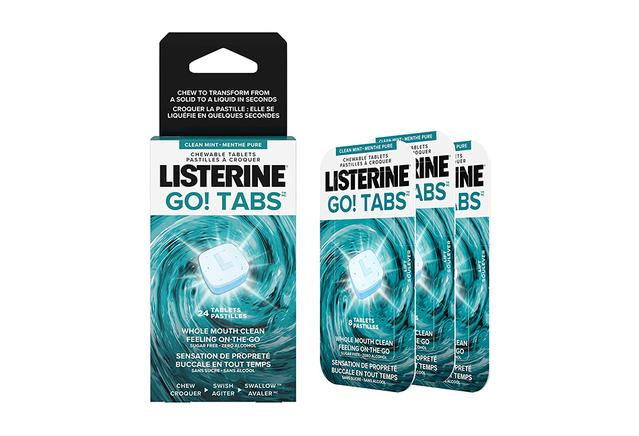 Package of Listerine Go! Tabs for oral health on the go