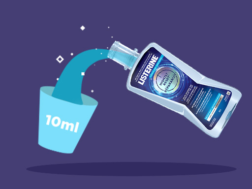 Listerine step by step process of night time dental routine